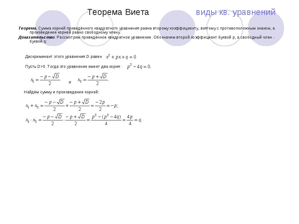 Теорема Виета виды кв. уравнений Теорема. Сумма корней приведённого квадратн...
