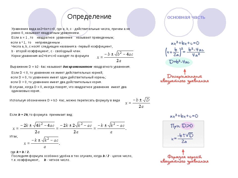 Определение основная часть Уравнение вида ax2+bx+c=0, где a, b, c - действи...