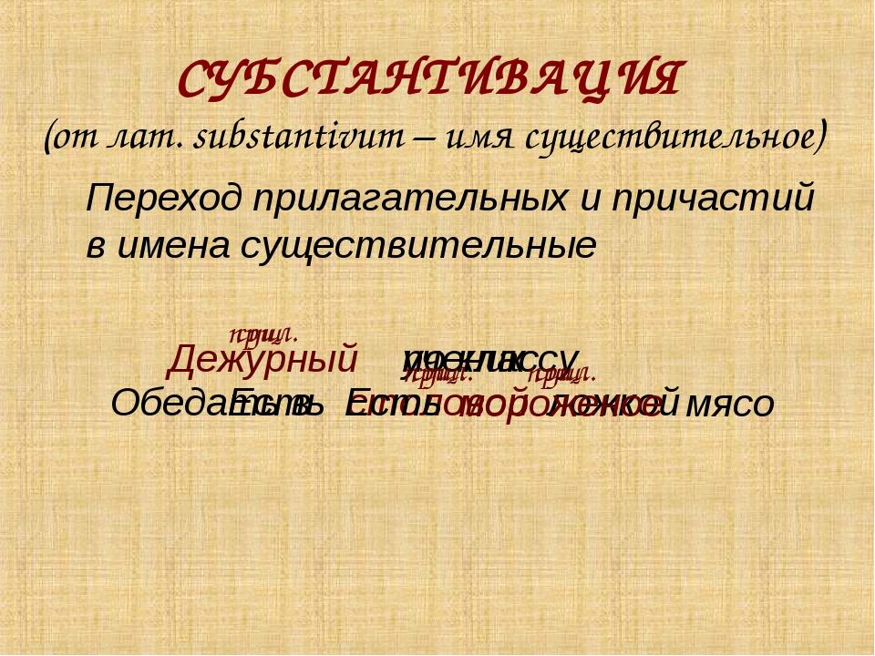 СУБСТАНТИВАЦИЯ (от лат. substantivum – имя существительное) Переход прилагат...
