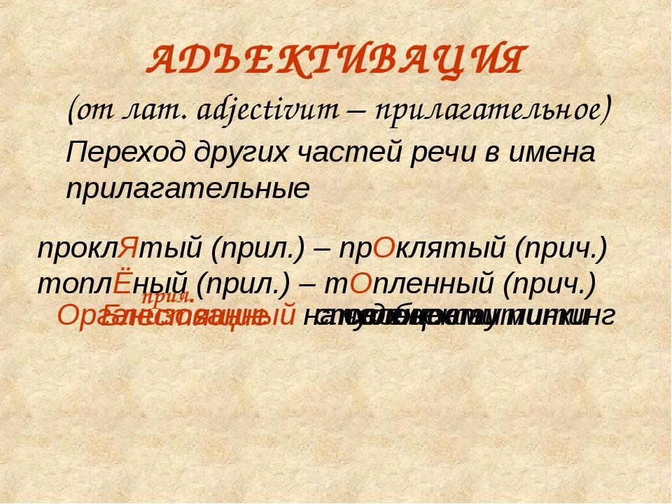 АДЪЕКТИВАЦИЯ (от лат. adjectivum – прилагательное) Переход других частей реч...