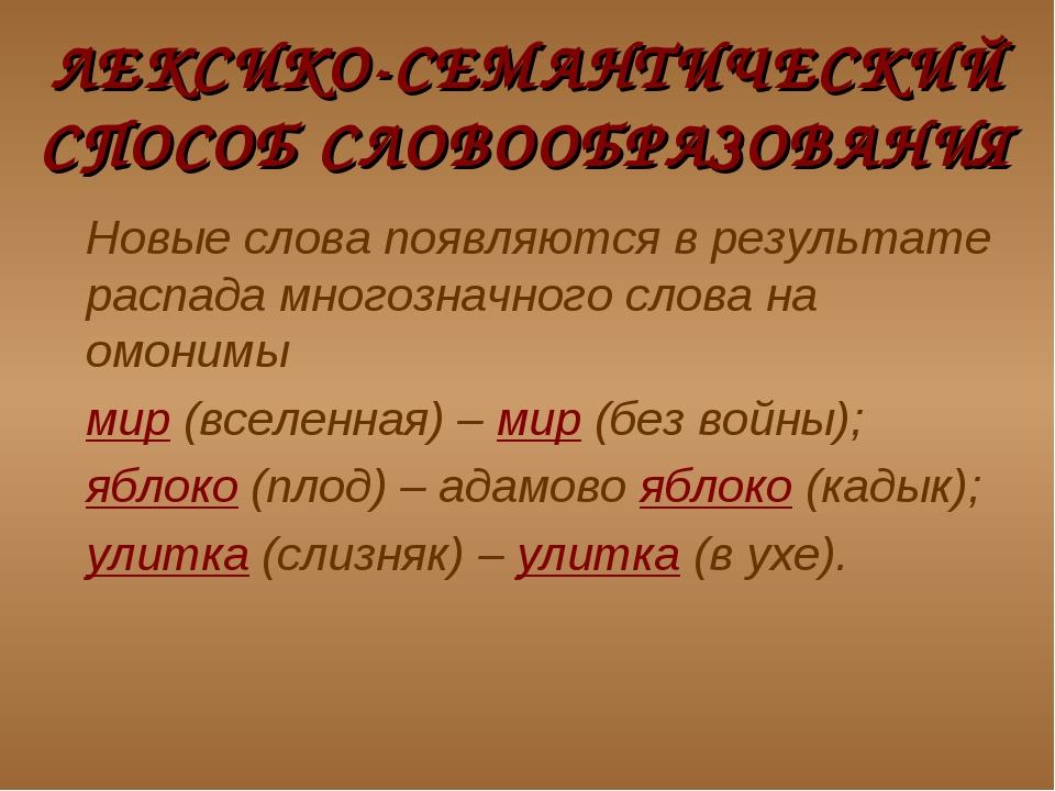 ЛЕКСИКО-СЕМАНТИЧЕСКИЙ СПОСОБ СЛОВООБРАЗОВАНИЯ Новые слова появляются в резул...