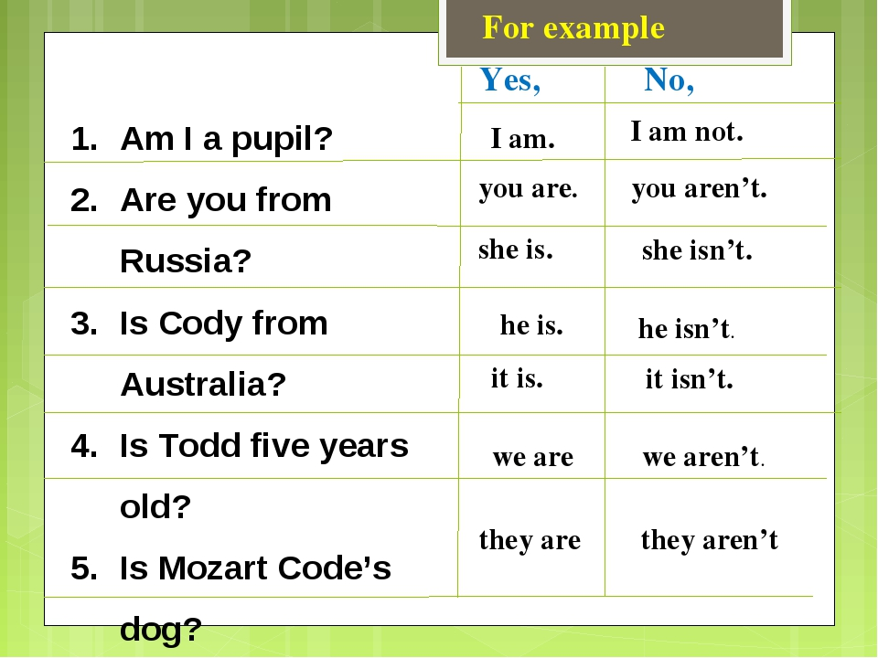 For example Am I a pupil? Are you from Russia? Is Cody from Australia? Is Tod...