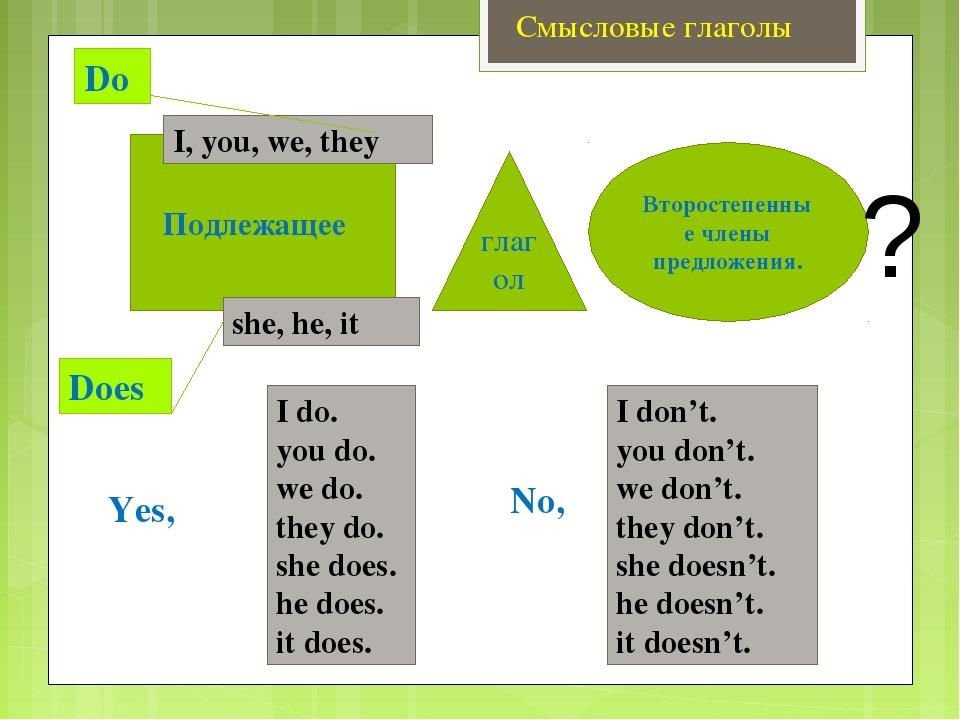 Смысловые глаголы Do Does Подлежащее Второстепенные члены предложения. ? I, y...