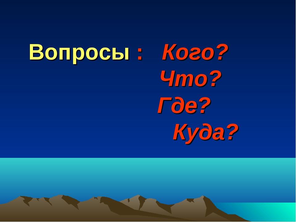 Вопросы : Кого? Что? Где? Куда?