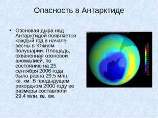 Опасность в Антарктиде Озоновая дыра над Антарктидой появляется каждый год в