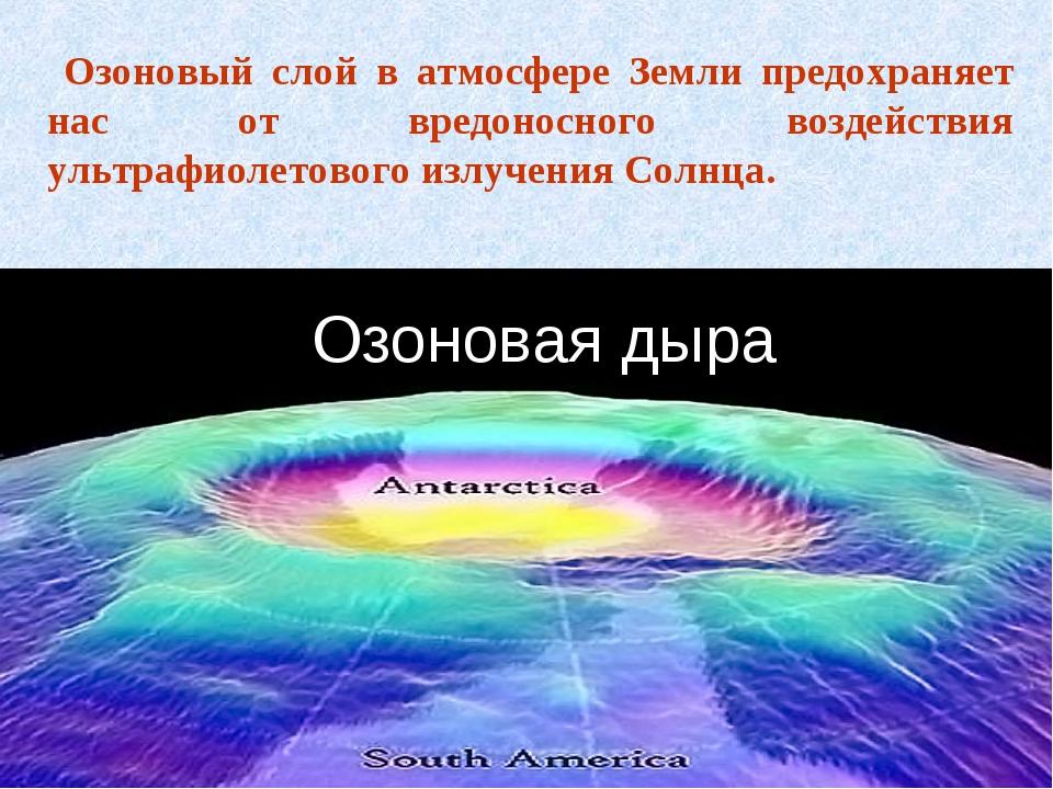Озоновая дыра Озоновый слой в атмосфере Земли предохраняет нас от вредоносног...