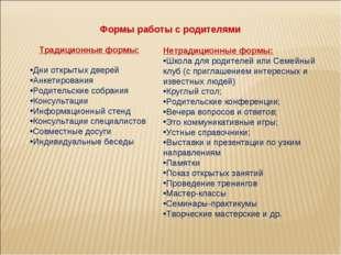 Традиционные формы: Дни открытых дверей Анкетирования Родительские собрания К