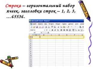 Строка – горизонтальный набор ячеек, заголовки строк – 1, 2, 3,…65536.