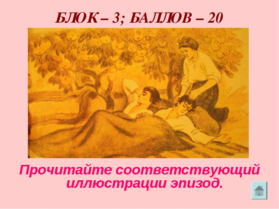 БЛОК – 3; БАЛЛОВ – 20 Прочитайте соответствующий иллюстрации эпизод.