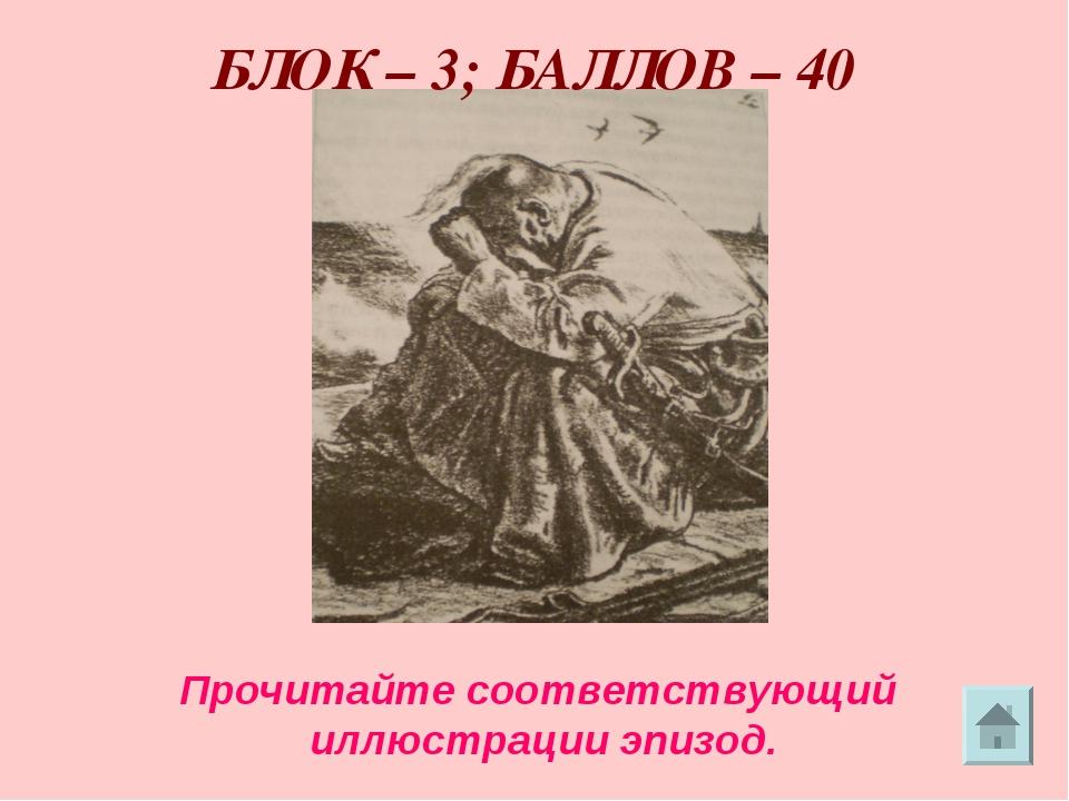 БЛОК – 3; БАЛЛОВ – 40 Прочитайте соответствующий иллюстрации эпизод.