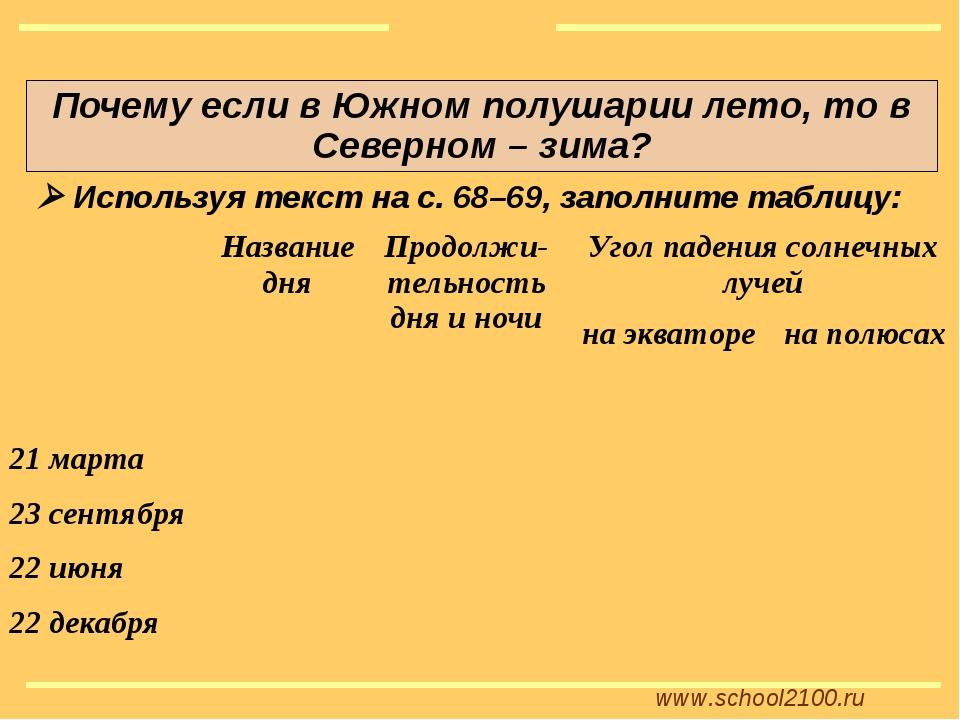 www.school2100.ru Почему если в Южном полушарии лето, то в Северном – зима? ...