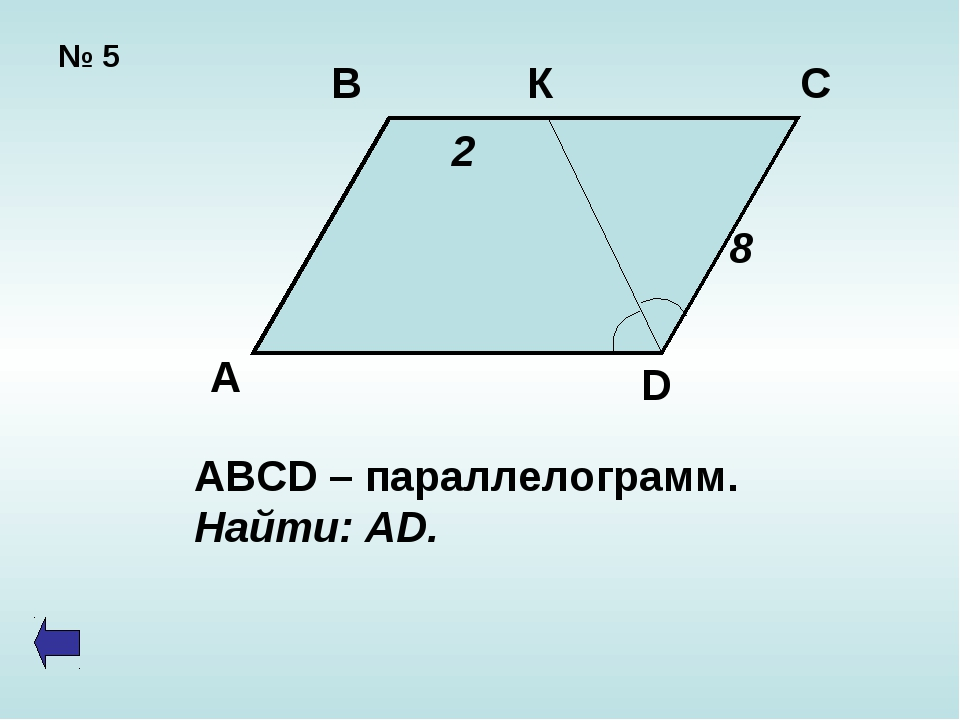 № 5 В К С А D 2 8 ABCD – параллелограмм. Найти: AD.