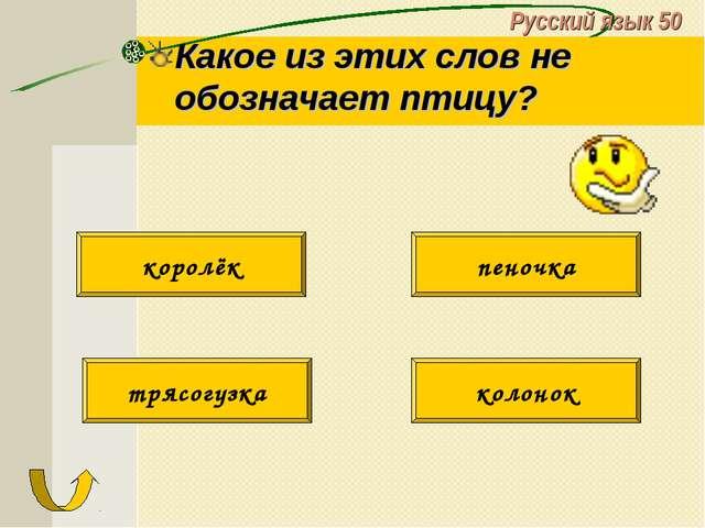 Русский язык 50 Какое из этих слов не обозначает птицу? трясогузка колонок ко...