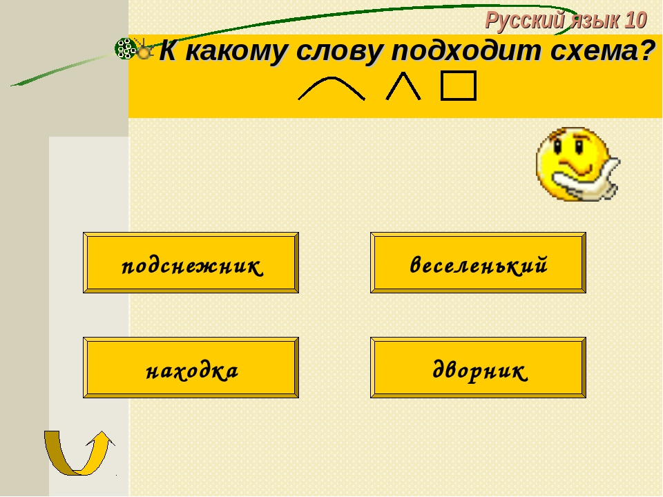 Русский язык 10 К какому слову подходит схема? подснежник веселенький находка...