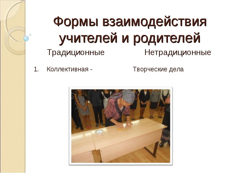 Формы взаимодействия учителей и родителей Нетрадиционные Традиционные 1. Кол...