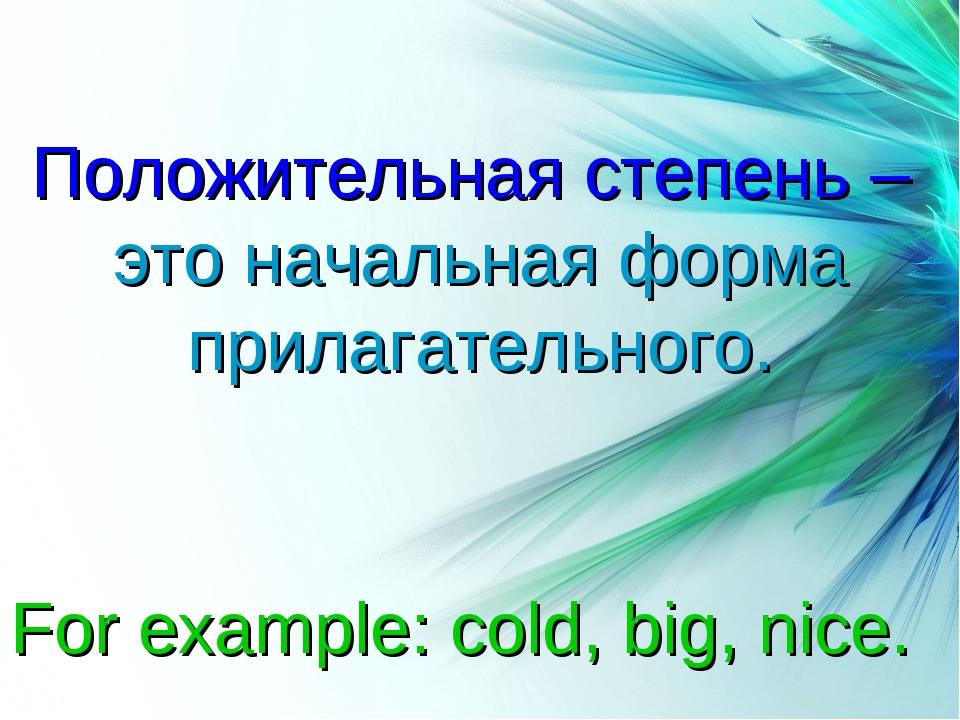 Степени сравнения прилагательных Положительная степень – это начальная форма...