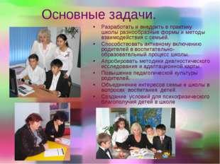 Основные задачи. Разработать и внедрить в практику школы разнообразные формы