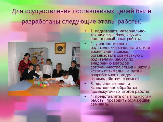 Для осуществления поставленных целей были разработаны следующие этапы работы:...