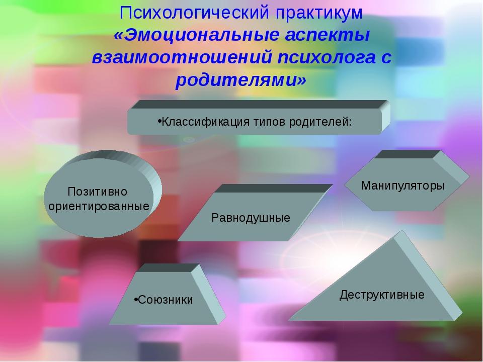 Психологический практикум «Эмоциональные аспекты взаимоотношений психолога с...