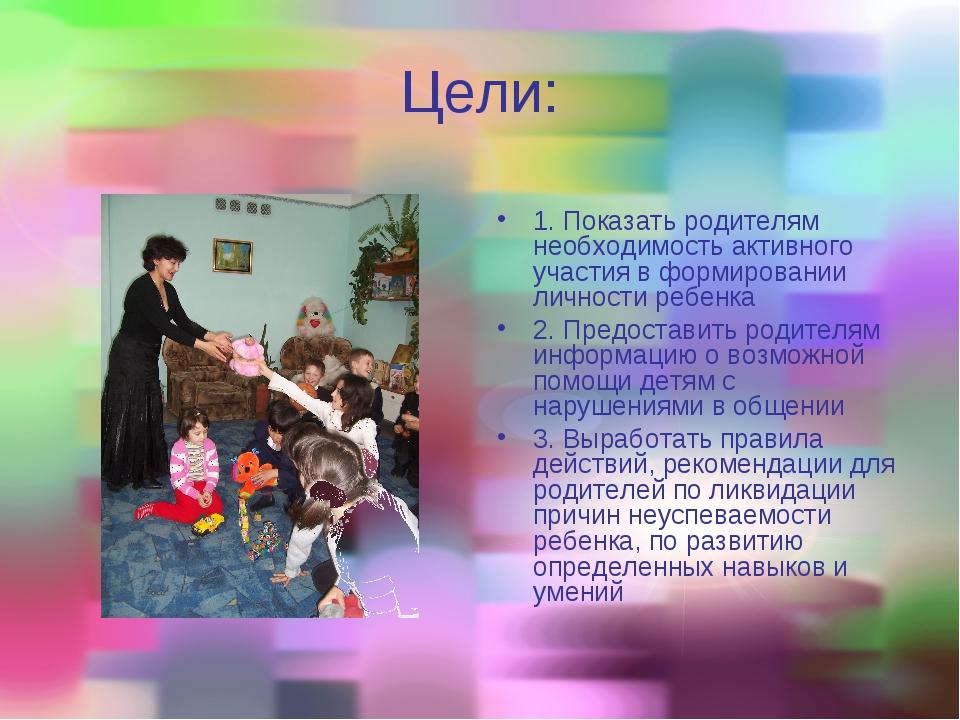 Цели: 1. Показать родителям необходимость активного участия в формировании ли...
