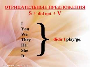 ОТРИЦАТЕЛЬНЫЕ ПРЕДЛОЖЕНИЯ S + did not + V I You We They He She It didn't play
