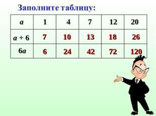 a 1 4 7 12 20 a + 6 6a 7 10 13 18 26 6 24 42 72 120