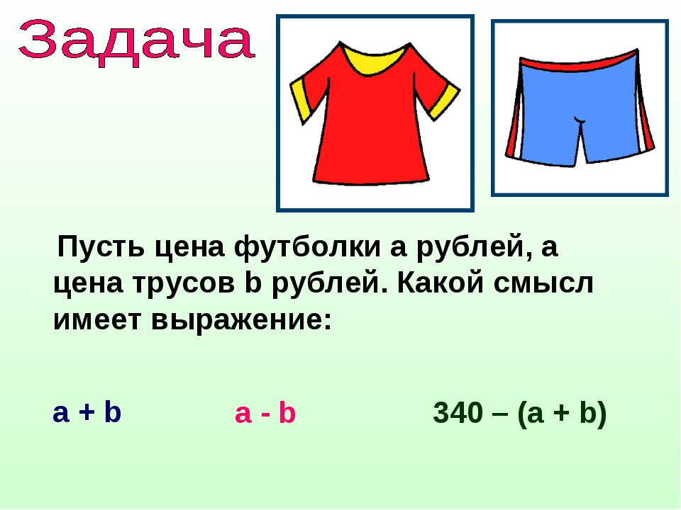 Пусть цена футболки а рублей, а цена трусов b рублей. Какой смысл имеет выра...