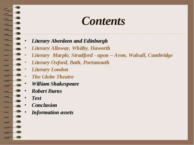Сontents Literary Aberdeen and Edinburgh Literary Alloway, Whitby, Haworth Li...