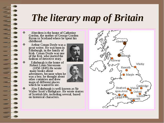 The literary map of Britain Aberdeen is the home of Catherine Gordon, the mot...