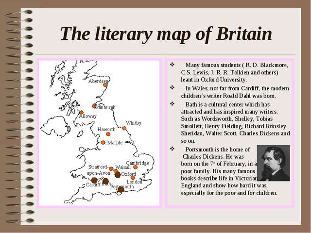 The literary map of Britain Many famous students ( R. D. Blackmore, C.S. Lewi...