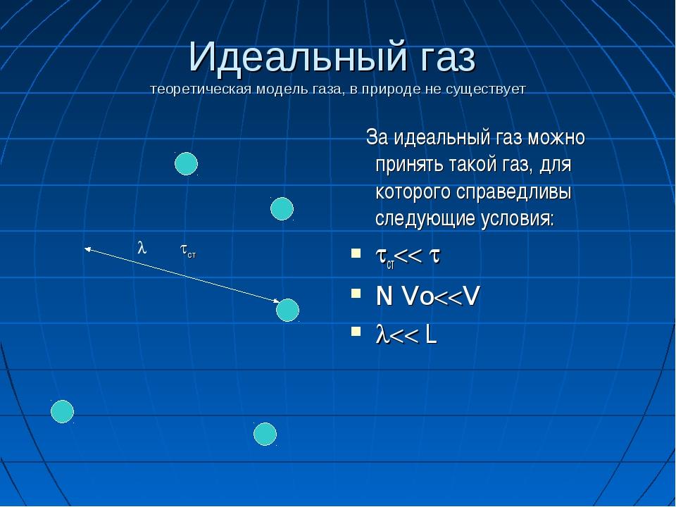 Идеальный газ теоретическая модель газа, в природе не существует За идеальный...