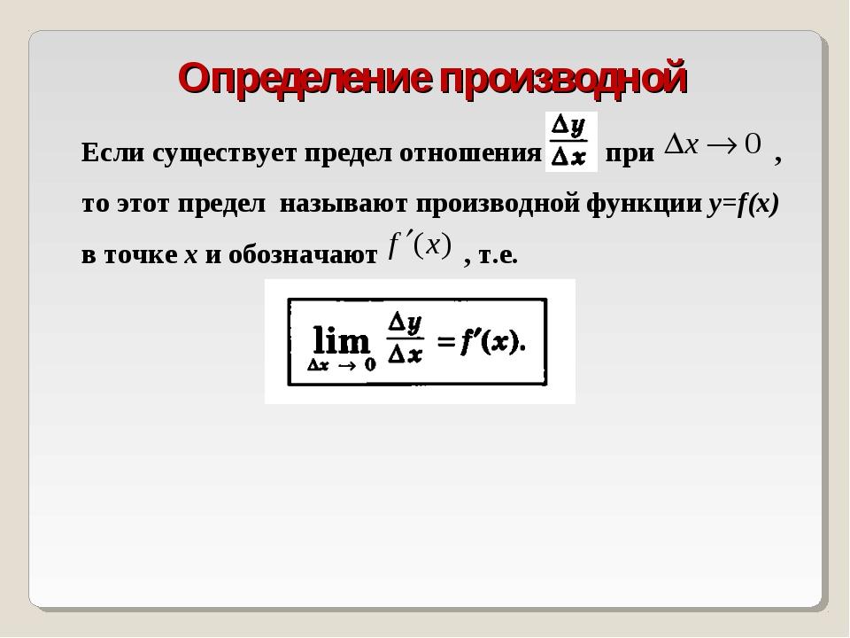 Определение производной Если существует предел отношения при , то этот преде...