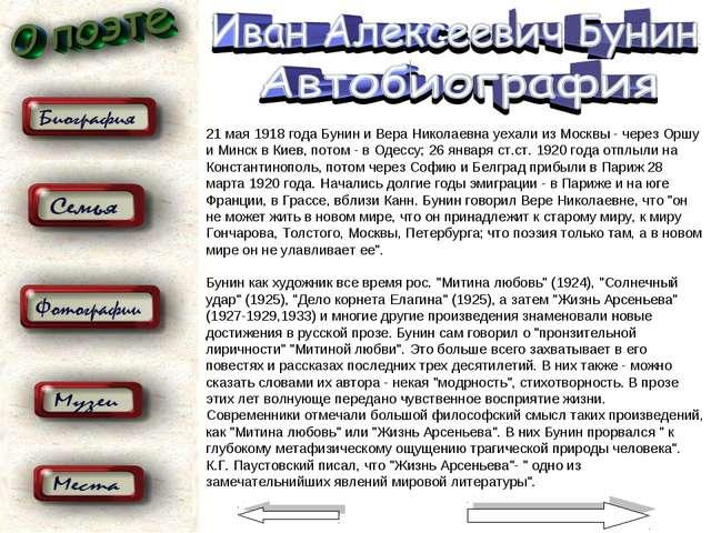 21 мая 1918 года Бунин и Веpа Николаевна уехали из Москвы - чеpез Оpшу и Минс...