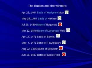 The Buttles and the winners: Apr 25, 1464 Battle of Hedgeley Moor May 15, 146
