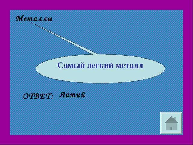 Металлы Самый легкий металл Литий ОТВЕТ: