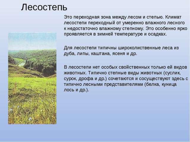 Лесостепь Это переходная зона между лесом и степью. Климат лесостепи переходн...