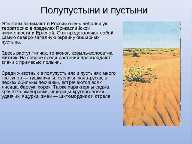 Полупустыни и пустыни Эти зоны занимают в России очень небольшую территорию в...