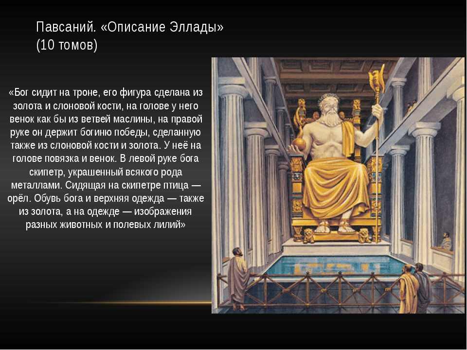 Павсаний.«Описание Эллады»  (10 томов)  «Бог сидит на троне, его фигур...