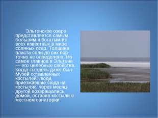 Эльтонское озеро представляется самым большим и богатым из всех известных в