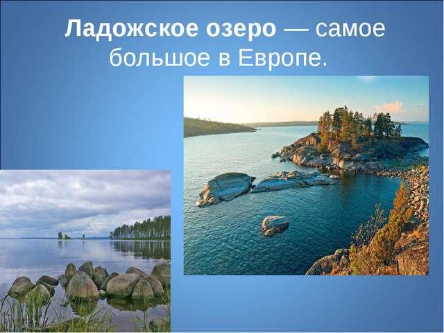 Ладожское озеро— самое большое в Европе.