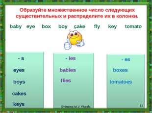 - s - ies - es Образуйте множественное число следующих существительных и расп
