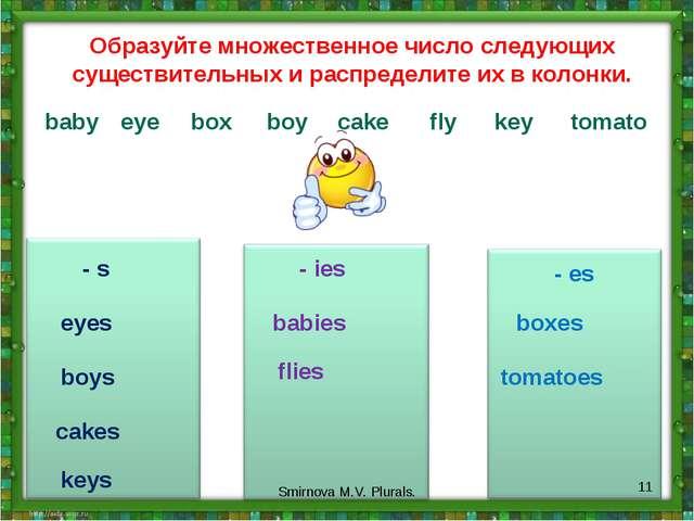 - s - ies - es Образуйте множественное число следующих существительных и расп...