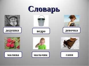 Словарь дедушка девочка сани мальчик малина ведро