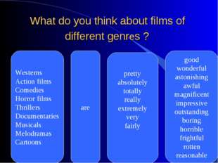 What do you think about films of different genres ? Westerns Action films Com