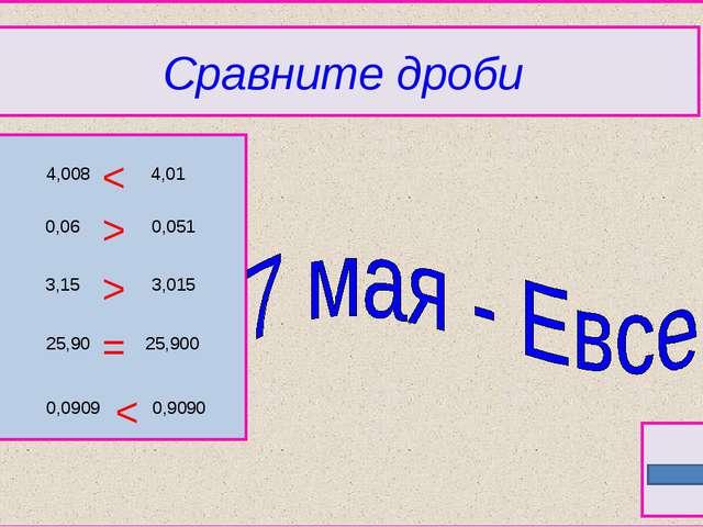 Сравните дроби 4,008 3,15 25,90 0,0909 0,9090 25,900 3,015 0,051 4,01 0,06 >...