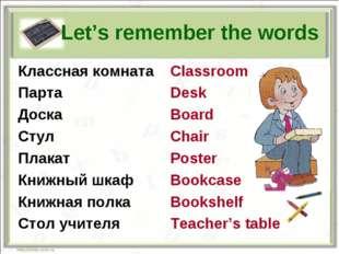 Let's remember the words Классная комната Парта Доска Стул Плакат Книжный шк