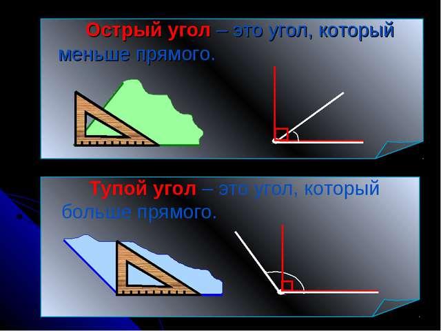 Острый угол – это угол, который меньше прямого. Тупой угол – это угол, ко...
