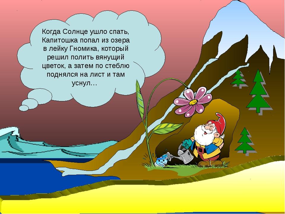 Когда Солнце ушло спать, Капитошка попал из озера в лейку Гномика, который ре...