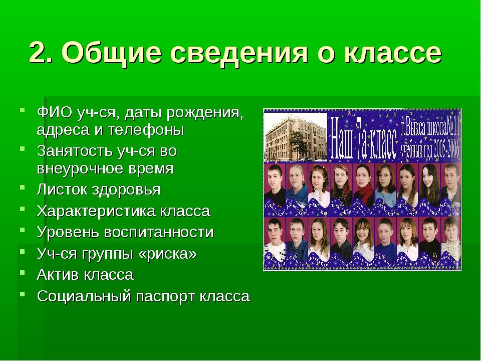 2. Общие сведения о классе ФИО уч-ся, даты рождения, адреса и телефоны Занято...