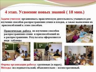 4 этап. Усвоение новых знаний ( 18 мин.) Задачи учителя: организовать практич